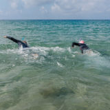 Adult couple swimming with wetsuit in the sea.